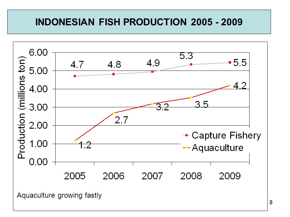 INDONESIAN FISH PRODUCTION 2005 - 2009 Aquaculture growing fastly 8