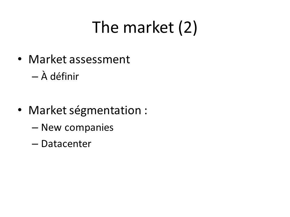 The market (2) Market assessment – À définir Market ségmentation : – New companies – Datacenter
