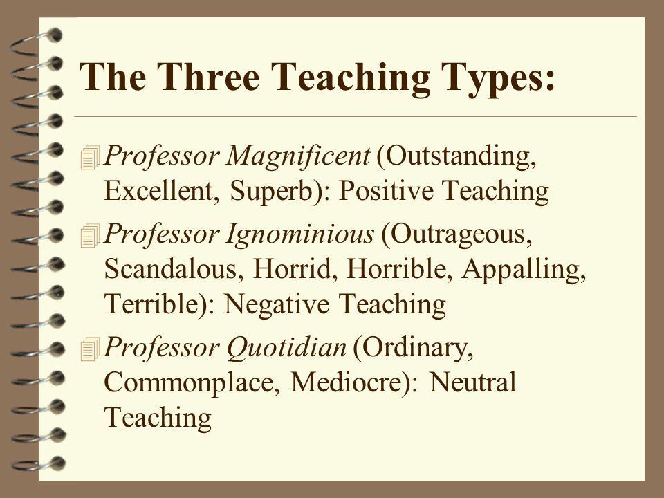 The Three Teaching Types: 4 Professor Magnificent (Outstanding, Excellent, Superb): Positive Teaching 4 Professor Ignominious (Outrageous, Scandalous, Horrid, Horrible, Appalling, Terrible): Negative Teaching 4 Professor Quotidian (Ordinary, Commonplace, Mediocre): Neutral Teaching
