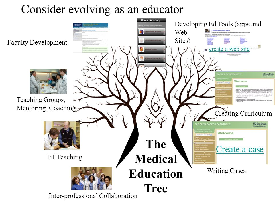 Consider evolving as an educator Create a case 1:1 Teaching Teaching Groups, Mentoring, Coaching Faculty Development Developing Ed Tools (apps and Web Sites) Creating Curriculum Writing Cases Inter-professional Collaboration create a web site The Medical Education Tree