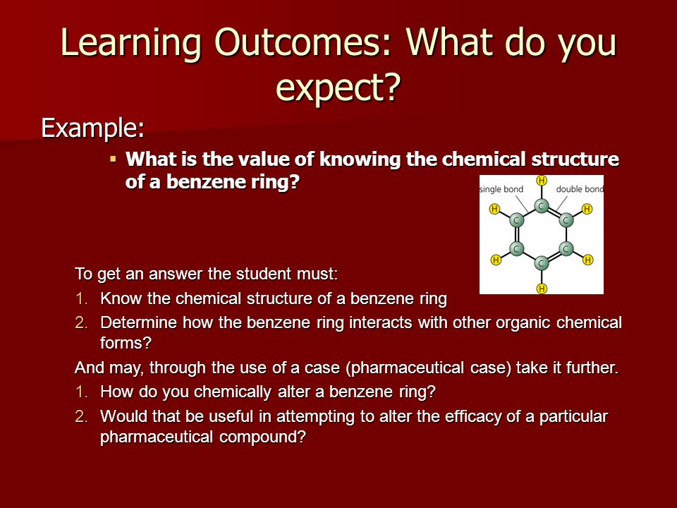 Learning Outcomes: What do you expect? Example:  What is the value of knowing the chemical structure of a benzene ring? To get an answer the student