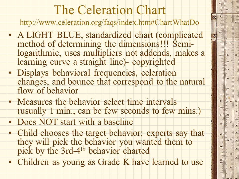 The Celeration Chart http://www.celeration.org/faqs/index.htm#ChartWhatDo A LIGHT BLUE, standardized chart (complicated method of determining the dime