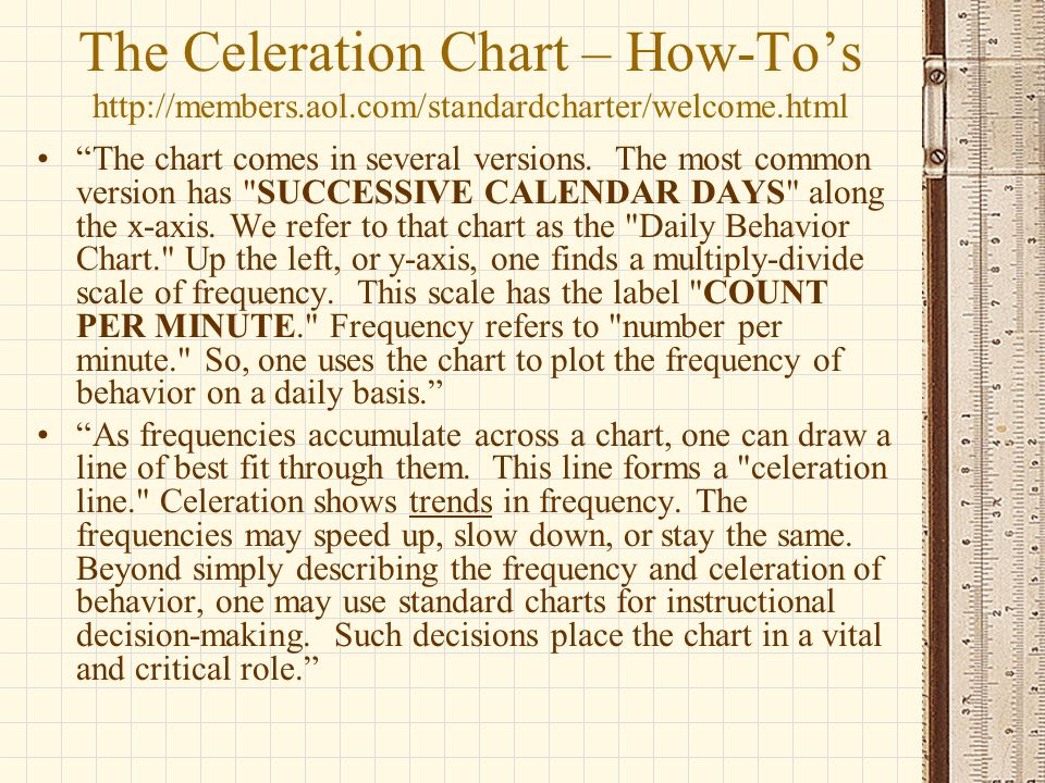 """The Celeration Chart – How-To's http://members.aol.com/standardcharter/welcome.html """"The chart comes in several versions. The most common version has"""