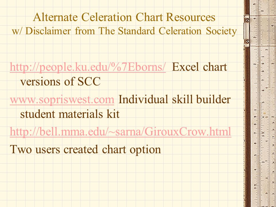 Alternate Celeration Chart Resources w/ Disclaimer from The Standard Celeration Society http://people.ku.edu/%7Eborns/http://people.ku.edu/%7Eborns/ E