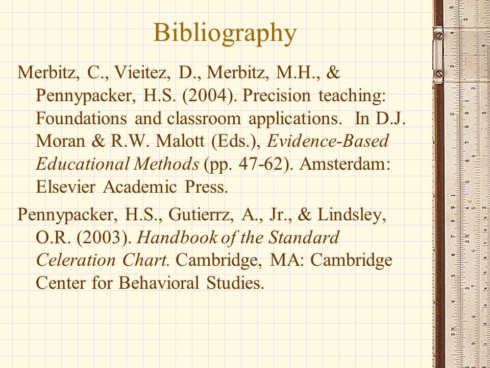 Bibliography Merbitz, C., Vieitez, D., Merbitz, M.H., & Pennypacker, H.S. (2004). Precision teaching: Foundations and classroom applications. In D.J.