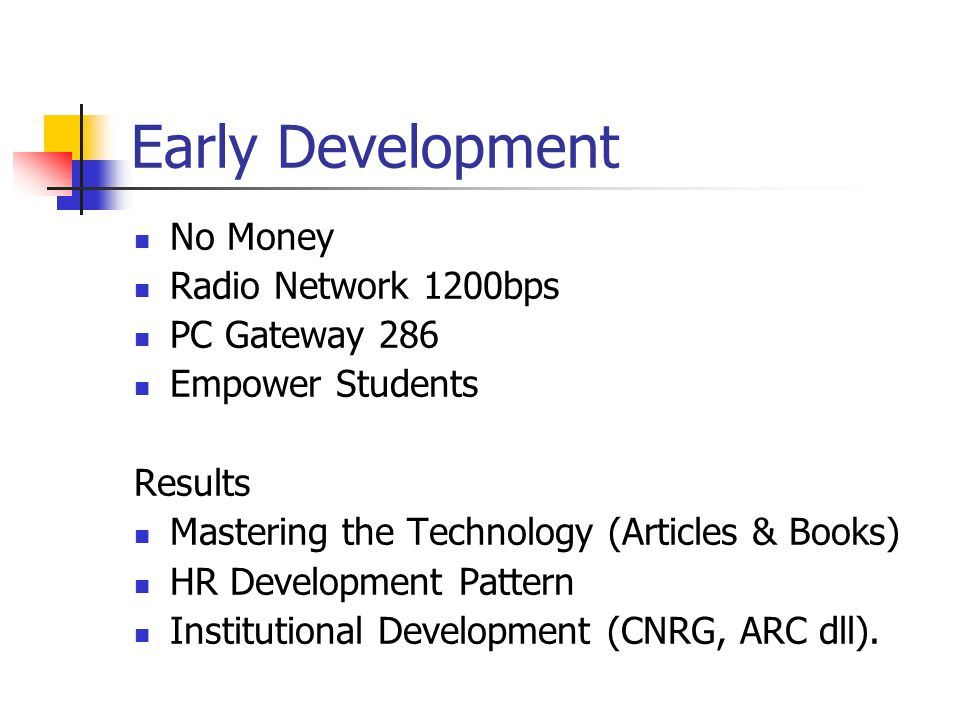 Early Development No Money Radio Network 1200bps PC Gateway 286 Empower Students Results Mastering the Technology (Articles & Books) HR Development Pattern Institutional Development (CNRG, ARC dll).