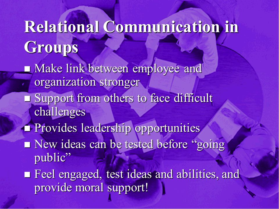 Relational Communication in Groups n Make link between employee and organization stronger n Support from others to face difficult challenges n Provides leadership opportunities n New ideas can be tested before going public n Feel engaged, test ideas and abilities, and provide moral support!