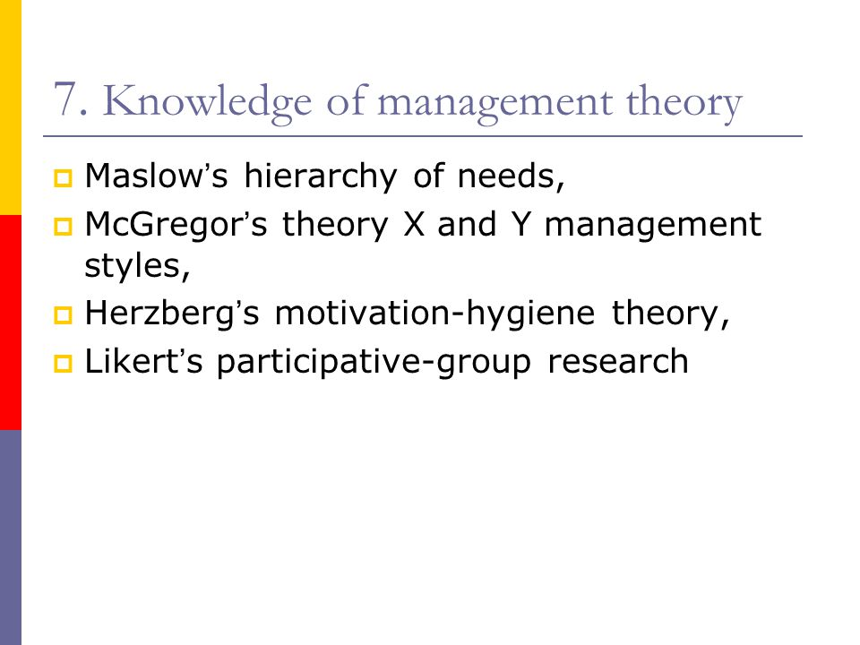 7. Knowledge of management theory  Maslow ' s hierarchy of needs,  McGregor ' s theory X and Y management styles,  Herzberg ' s motivation-hygiene