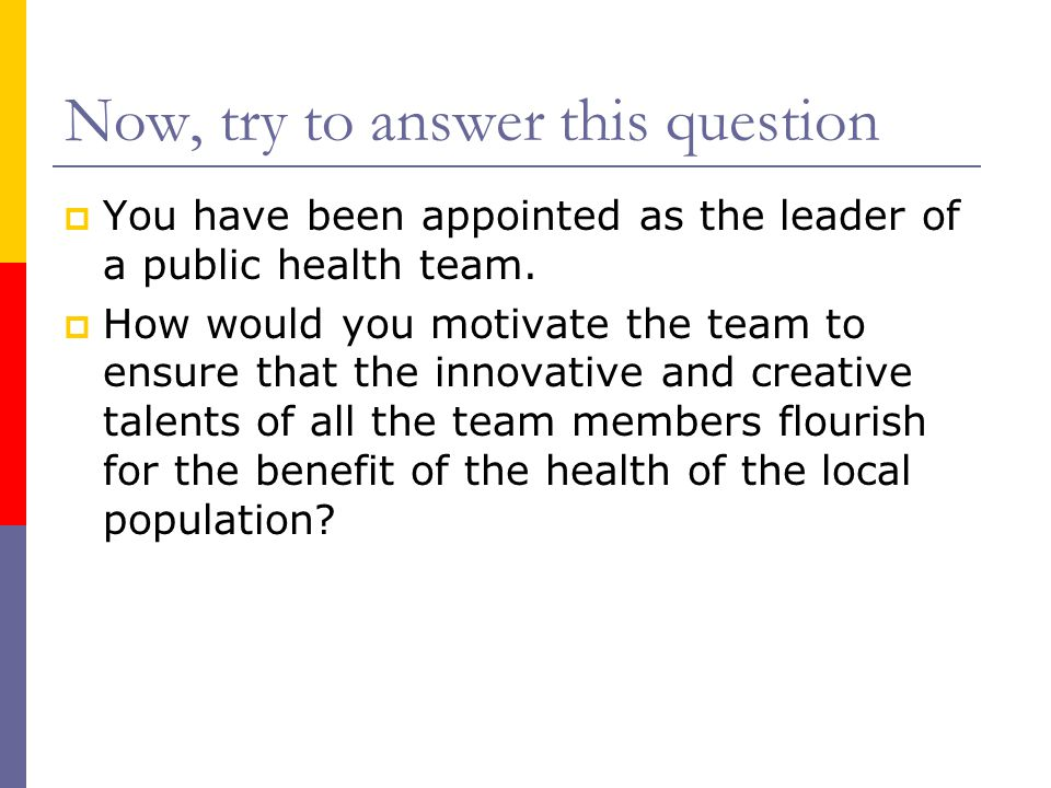 Now, try to answer this question  You have been appointed as the leader of a public health team.  How would you motivate the team to ensure that the