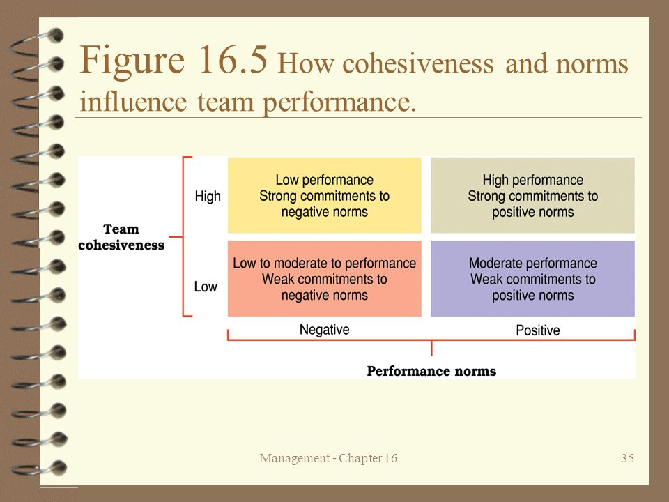Management - Chapter 1635 Figure 16.5 How cohesiveness and norms influence team performance.