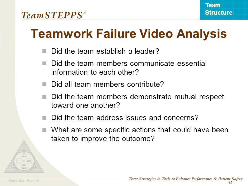 T EAM STEPPS 05.2 Mod Page 19 Team Structure ® 19 Teamwork Failure Video Analysis Did the team establish a leader.