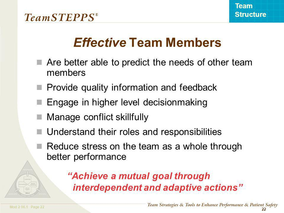 T EAM STEPPS 05.2 Mod Page 22 Team Structure ® 22 Are better able to predict the needs of other team members Provide quality information and feedback Engage in higher level decisionmaking Manage conflict skillfully Understand their roles and responsibilities Reduce stress on the team as a whole through better performance Achieve a mutual goal through interdependent and adaptive actions Effective Team Members