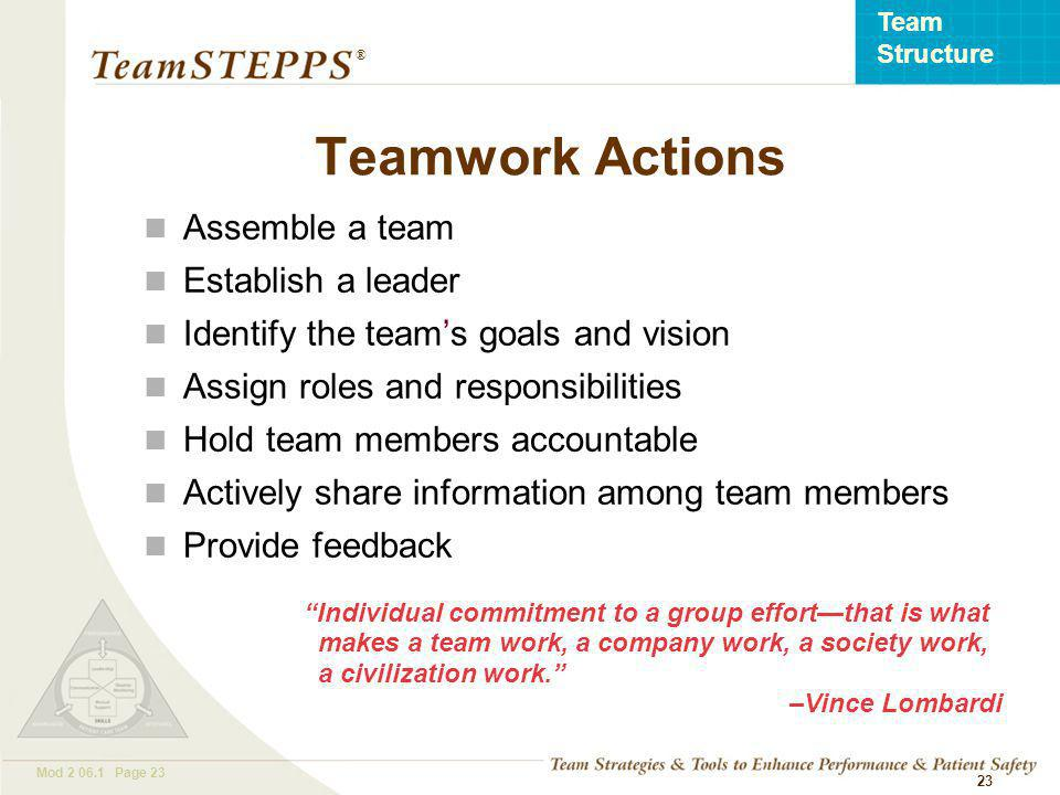 T EAM STEPPS 05.2 Mod Page 23 Team Structure ® 23 Teamwork Actions Assemble a team Establish a leader Identify the team's goals and vision Assign roles and responsibilities Hold team members accountable Actively share information among team members Provide feedback Individual commitment to a group effort—that is what makes a team work, a company work, a society work, a civilization work. –Vince Lombardi