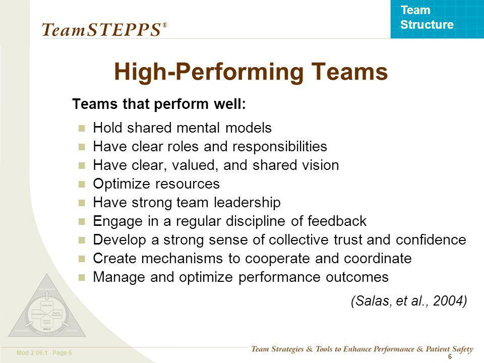T EAM STEPPS 05.2 Mod Page 6 Team Structure ® 6 High-Performing Teams Teams that perform well: Hold shared mental models Have clear roles and responsibilities Have clear, valued, and shared vision Optimize resources Have strong team leadership Engage in a regular discipline of feedback Develop a strong sense of collective trust and confidence Create mechanisms to cooperate and coordinate Manage and optimize performance outcomes (Salas, et al., 2004)