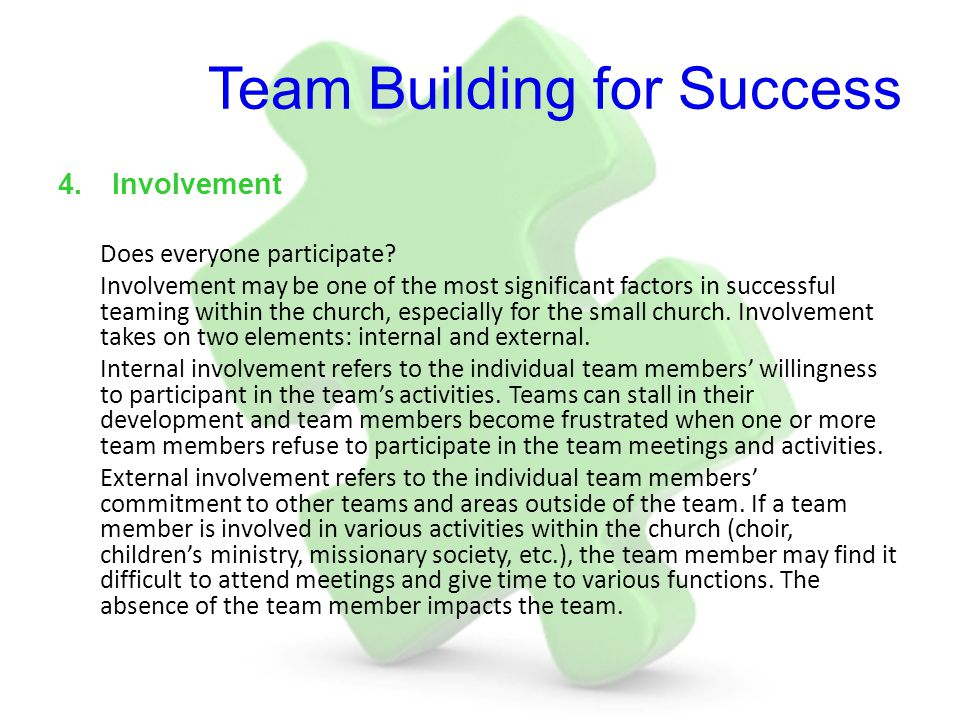 Team Building for Success 4.Involvement Does everyone participate? Involvement may be one of the most significant factors in successful teaming within