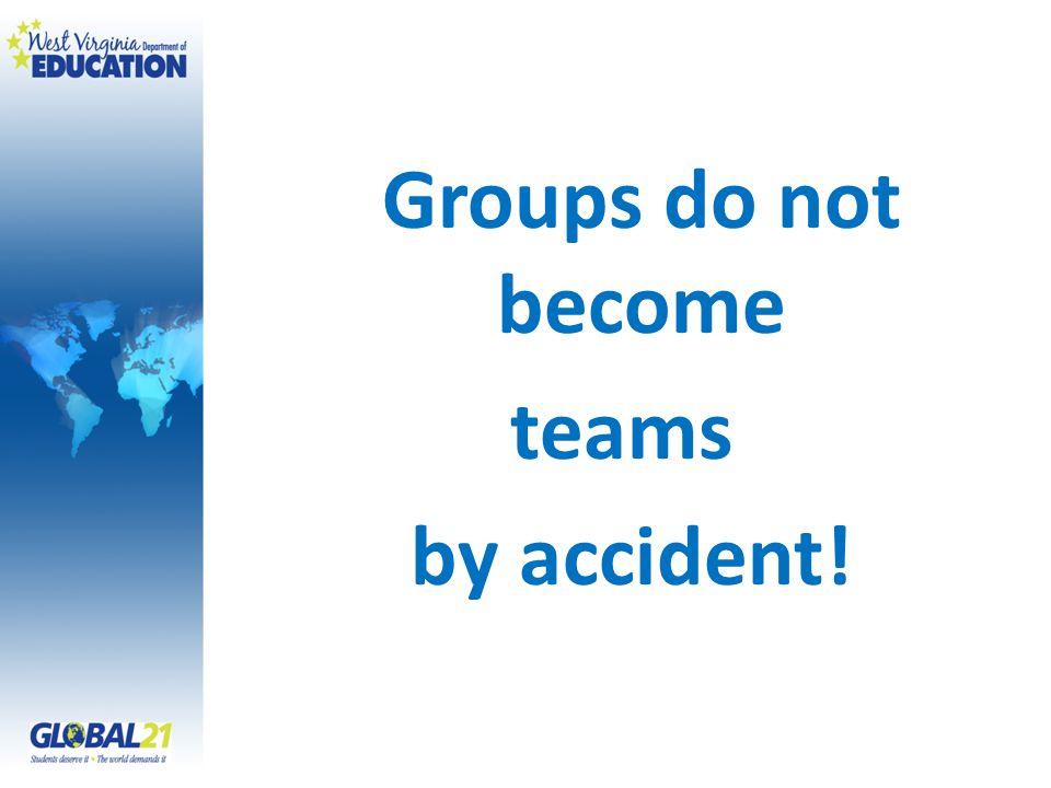 Groups do not become teams by accident!