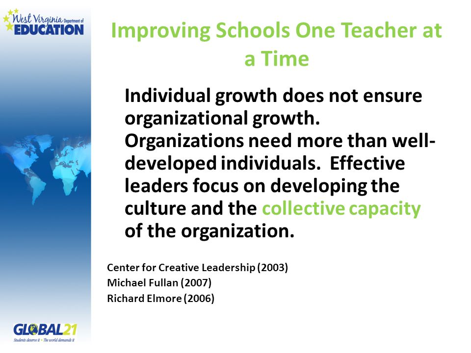 Improving Schools One Teacher at a Time Individual growth does not ensure organizational growth.