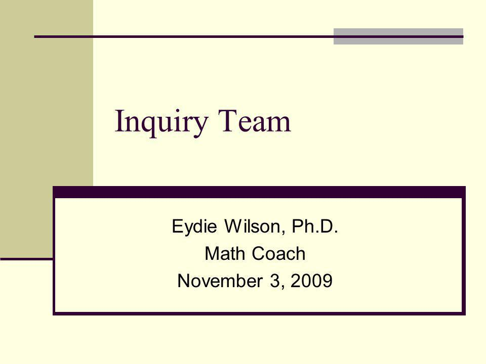 Inquiry Team Eydie Wilson, Ph.D. Math Coach November 3, 2009