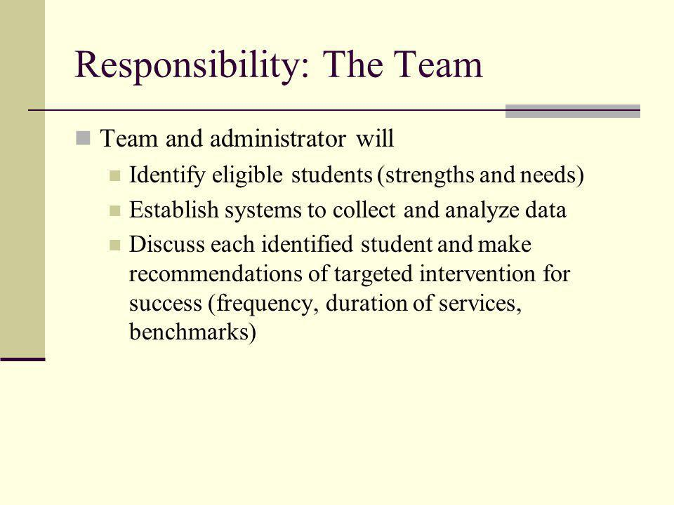Responsibility: The Team Team and administrator will Identify eligible students (strengths and needs) Establish systems to collect and analyze data Discuss each identified student and make recommendations of targeted intervention for success (frequency, duration of services, benchmarks)