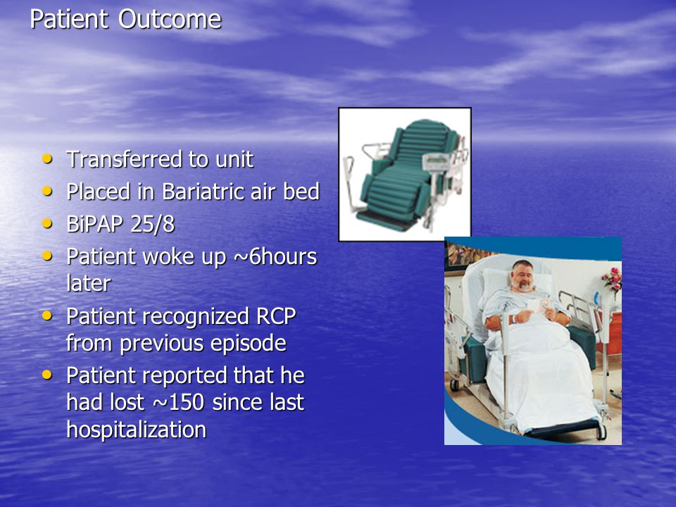 Patient Outcome Transferred to unit Transferred to unit Placed in Bariatric air bed Placed in Bariatric air bed BiPAP 25/8 BiPAP 25/8 Patient woke up ~6hours later Patient woke up ~6hours later Patient recognized RCP from previous episode Patient recognized RCP from previous episode Patient reported that he had lost ~150 since last hospitalization Patient reported that he had lost ~150 since last hospitalization
