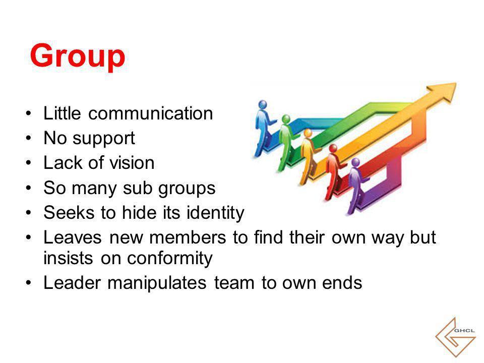 Little communication No support Lack of vision So many sub groups Seeks to hide its identity Leaves new members to find their own way but insists on conformity Leader manipulates team to own ends Group