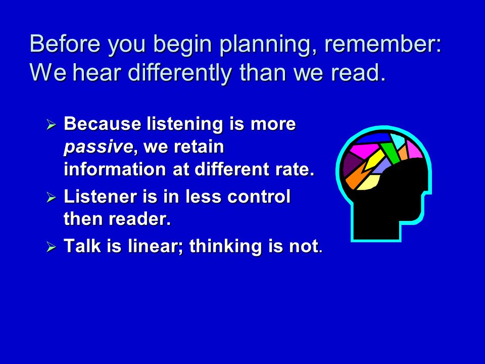 Before you begin planning...  Think about the realities of listening vs.