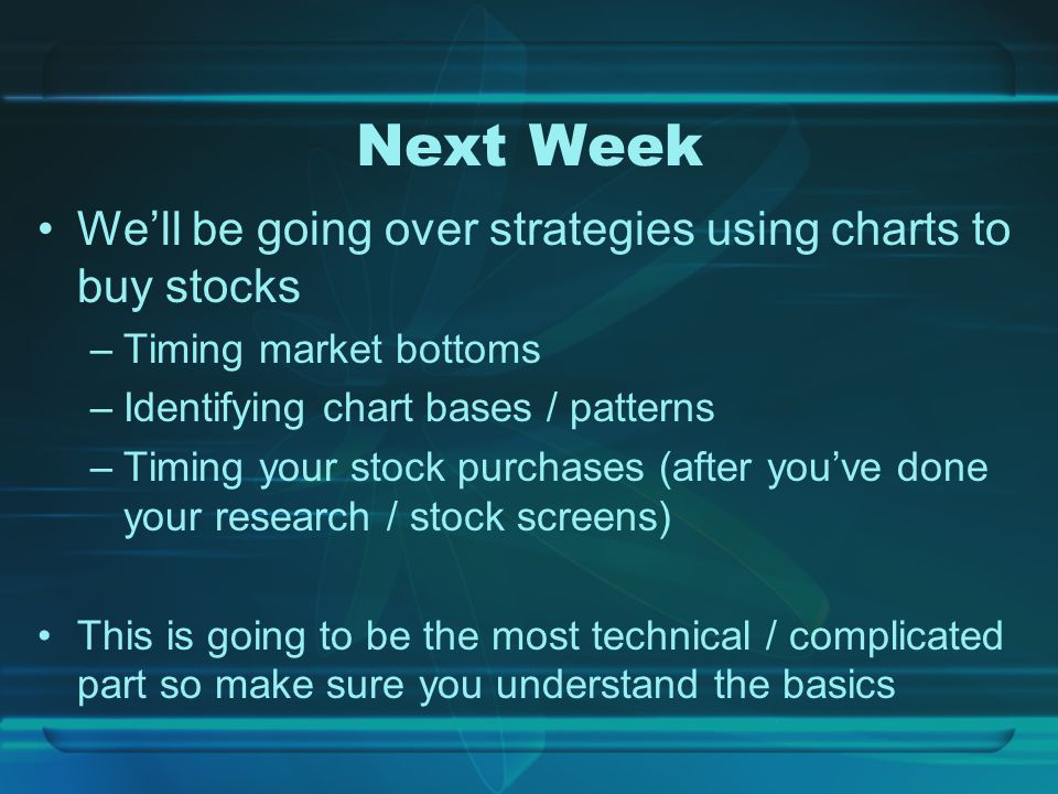 Next Week We'll be going over strategies using charts to buy stocks –Timing market bottoms –Identifying chart bases / patterns –Timing your stock purchases (after you've done your research / stock screens) This is going to be the most technical / complicated part so make sure you understand the basics