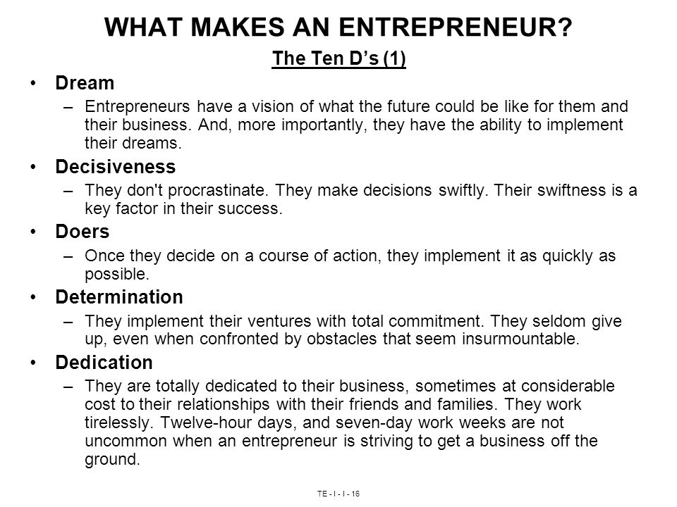 TE - I - I - 16 WHAT MAKES AN ENTREPRENEUR.