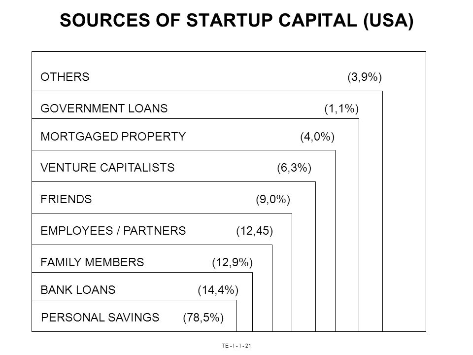 TE - I - I - 21 SOURCES OF STARTUP CAPITAL (USA) PERSONAL SAVINGS(78,5%) BANK LOANS (14,4%) FAMILY MEMBERS (12,9%) EMPLOYEES / PARTNERS (12,45) FRIENDS (9,0%) VENTURE CAPITALISTS(6,3%) MORTGAGED PROPERTY (4,0%) GOVERNMENT LOANS(1,1%) OTHERS (3,9%)