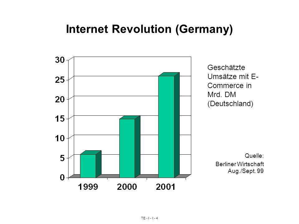 TE - I - I - 4 Internet Revolution (Germany) Geschätzte Umsätze mit E- Commerce in Mrd. DM (Deutschland) Quelle: Berliner Wirtschaft Aug./Sept. 99