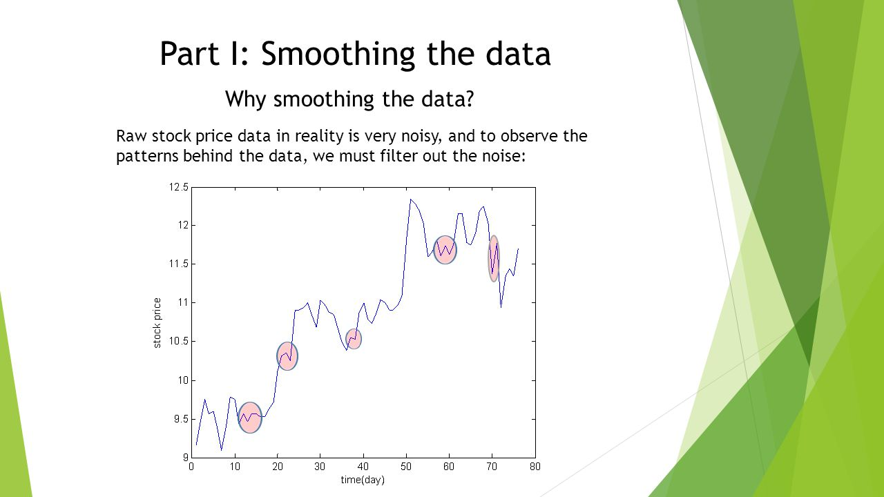Part I: Smoothing the data Why smoothing the data.
