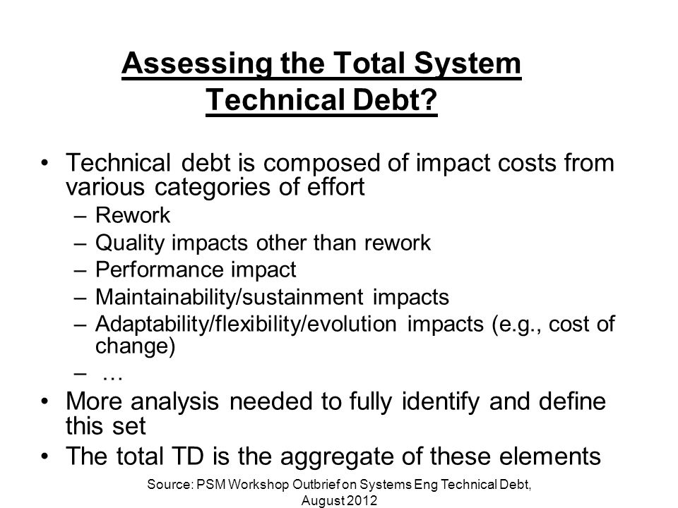 Assessing the Total System Technical Debt.