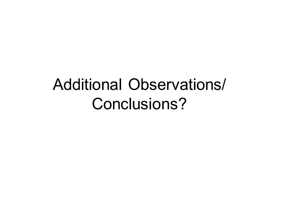 Additional Observations/ Conclusions