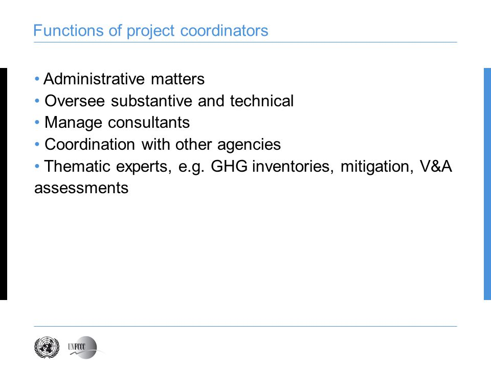 Functions of project coordinators Administrative matters Oversee substantive and technical Manage consultants Coordination with other agencies Thematic experts, e.g.