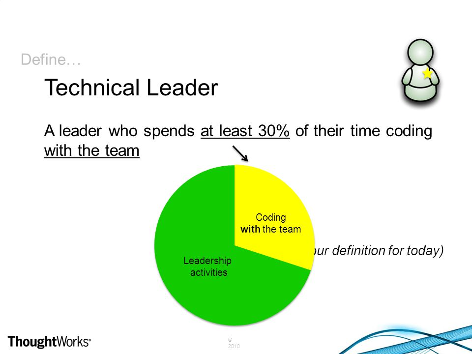 © 2010 Define… A leader who spends at least 30% of their time coding with the team (our definition for today) Technical Leader Coding with the team Le
