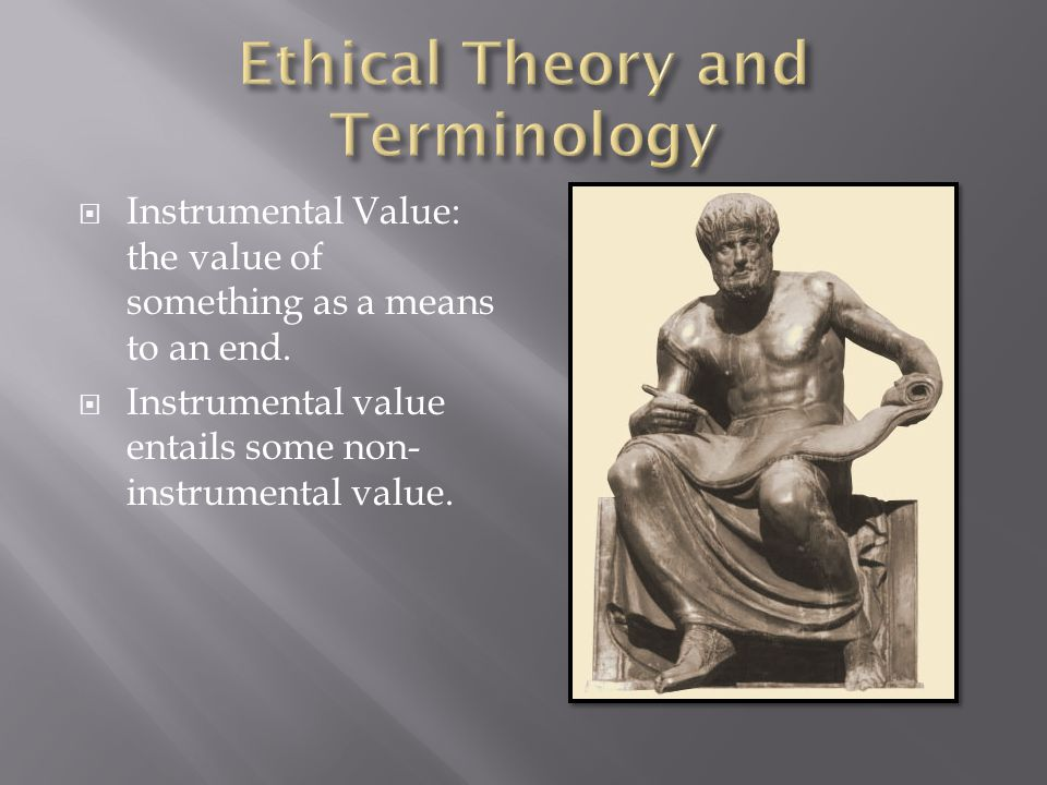  Instrumental Value: the value of something as a means to an end.