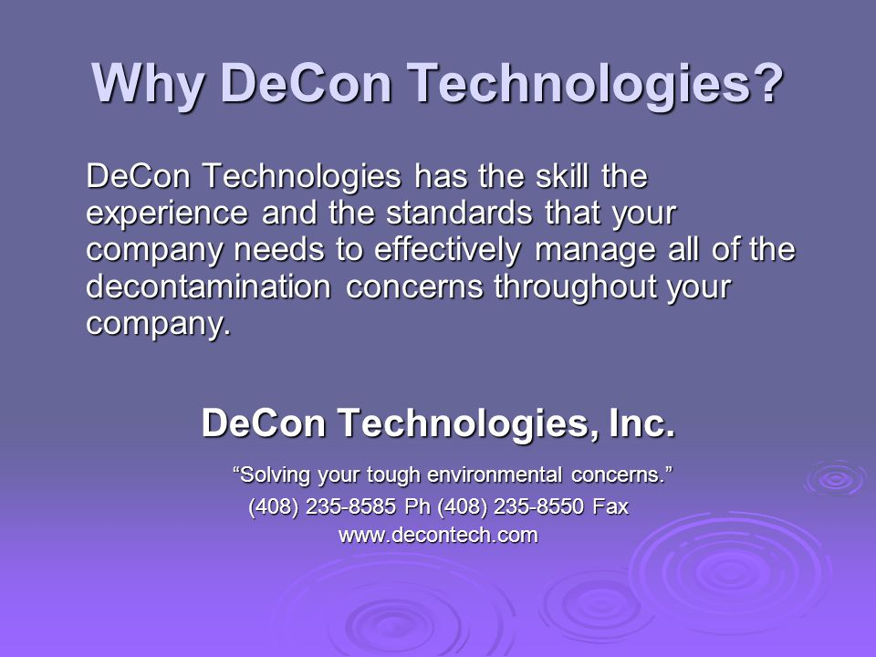 Why DeCon Technologies.