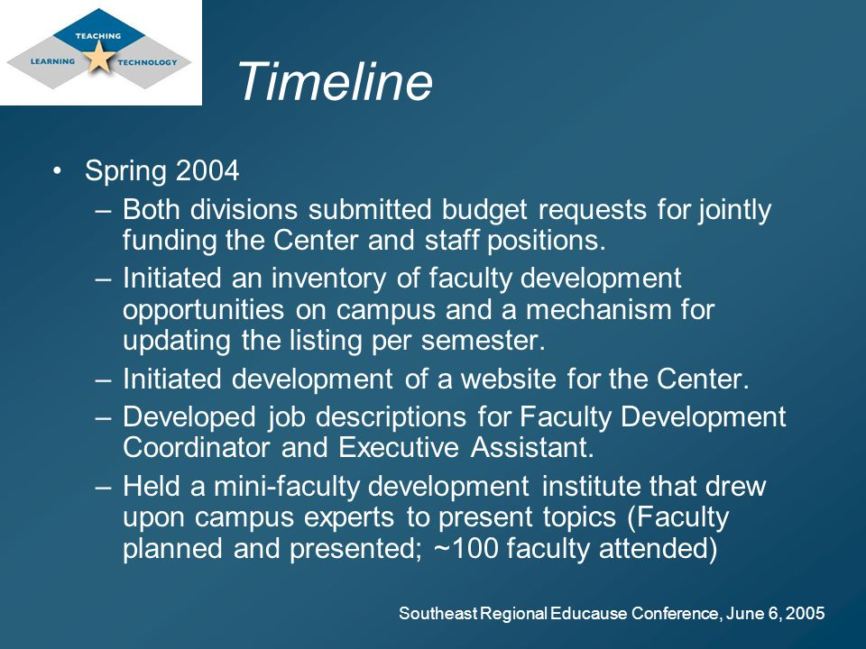 Southeast Regional Educause Conference, June 6, 2005 Timeline Spring 2004 –Both divisions submitted budget requests for jointly funding the Center and staff positions.