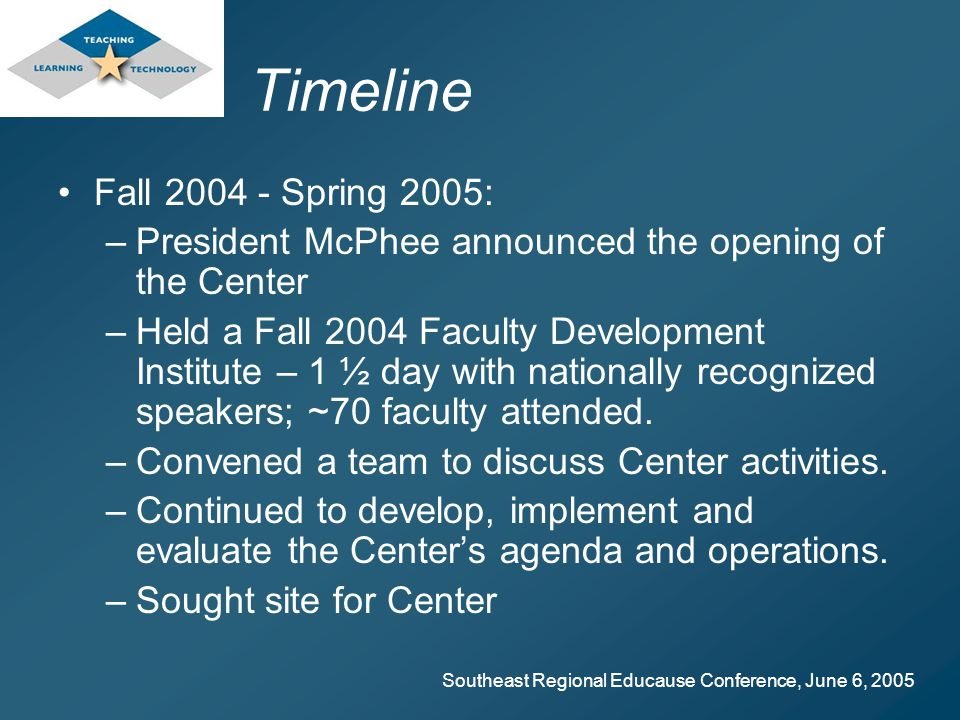 Southeast Regional Educause Conference, June 6, 2005 Timeline Fall Spring 2005: –President McPhee announced the opening of the Center –Held a Fall 2004 Faculty Development Institute – 1 ½ day with nationally recognized speakers; ~70 faculty attended.