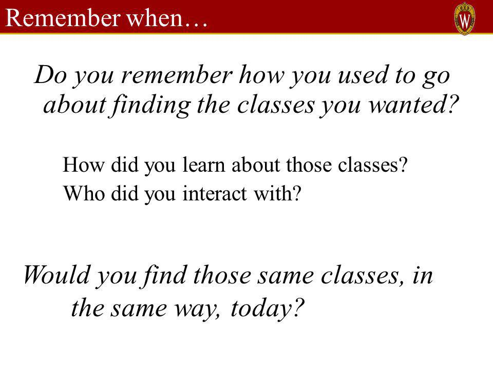 Remember when… Do you remember how you used to go about finding the classes you wanted.