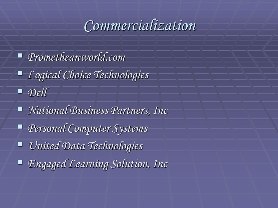 Commercialization  Prometheanworld.com  Logical Choice Technologies  Dell  National Business Partners, Inc  Personal Computer Systems  United Da