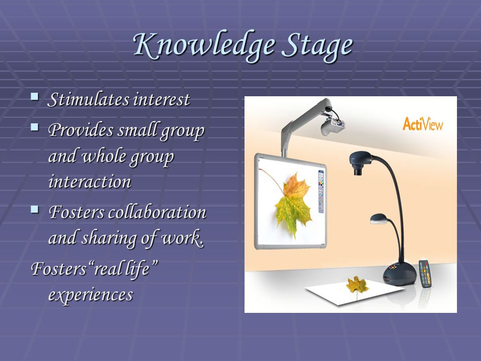 "Knowledge Stage  Stimulates interest  Provides small group and whole group interaction  Fosters collaboration and sharing of work. Fosters""real lif"