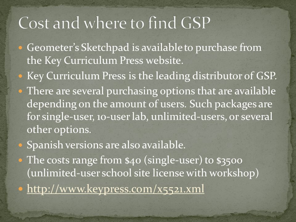 Geometer's Sketchpad is available to purchase from the Key Curriculum Press website.