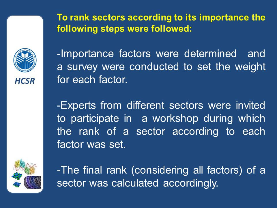To rank sectors according to its importance the following steps were followed: -Importance factors were determined and a survey were conducted to set the weight for each factor.