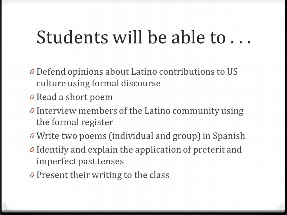 Students will be able to...
