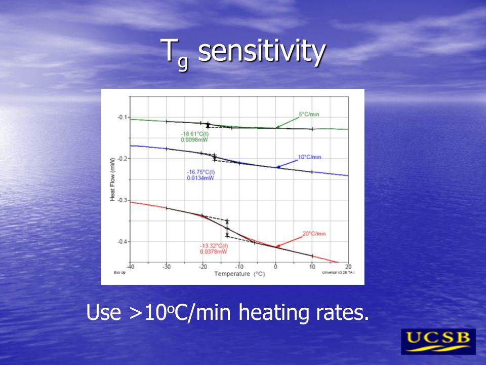 T g sensitivity Use >10 o C/min heating rates.
