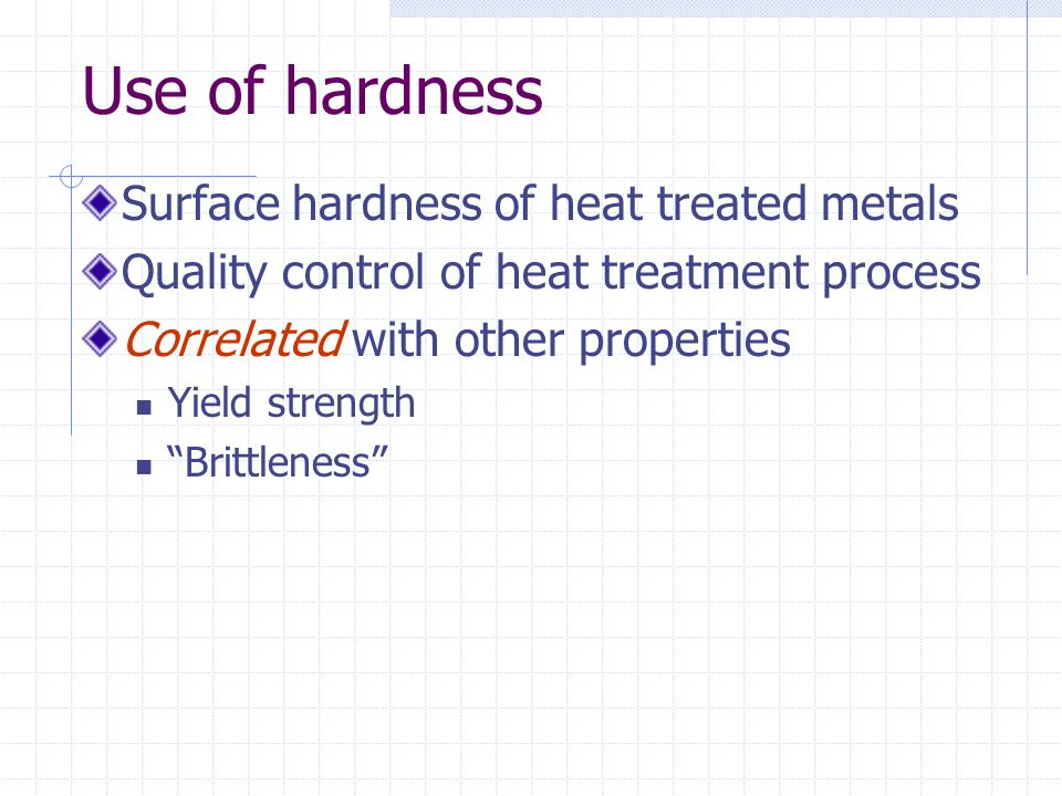 """Use of hardness Surface hardness of heat treated metals Quality control of heat treatment process Correlated with other properties Yield strength """"Bri"""