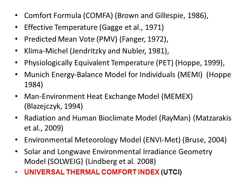 Comfort Formula (COMFA) (Brown and Gillespie, 1986), Effective Temperature (Gagge et al., 1971) Predicted Mean Vote (PMV) (Fanger, 1972), Klima-Michel (Jendritzky and Nubler, 1981), Physiologically Equivalent Temperature (PET) (Hoppe, 1999), Munich Energy-Balance Model for Individuals (MEMI) (Hoppe 1984) Man-Environment Heat Exchange Model (MEMEX) (Blazejczyk, 1994) Radiation and Human Bioclimate Model (RayMan) (Matzarakis et al., 2009) Environmental Meteorology Model (ENVI-Met) (Bruse, 2004) Solar and Longwave Environmental Irradiance Geometry Model (SOLWEIG) (Lindberg et al.