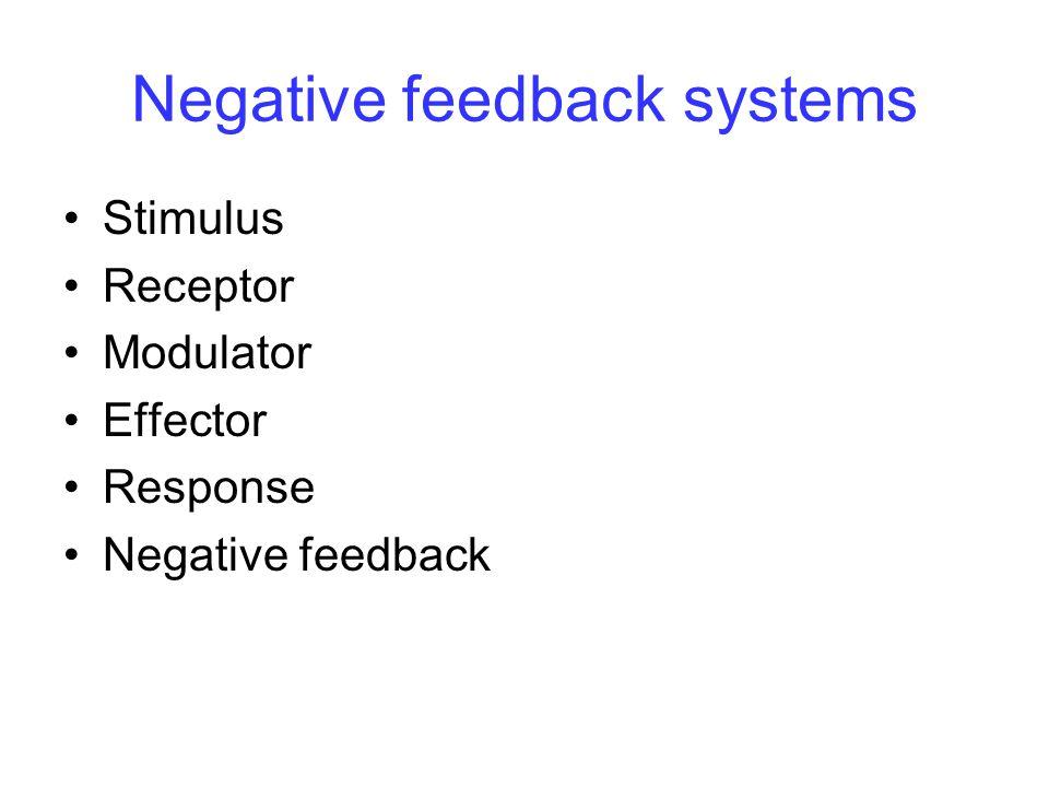 Negative feedback systems Stimulus Receptor Modulator Effector Response Negative feedback