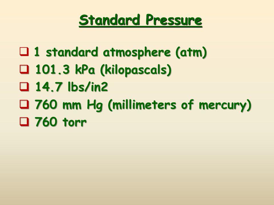 Standard Pressure 1 standard atmosphere (atm)  1 standard atmosphere (atm)  101.3 kPa (kilopascals)  14.7 lbs/in2  760 mm Hg (millimeters of mercu